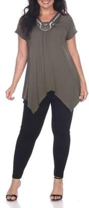 White Mark Women's Plus Size Embellished Short Sleeve Tunic Top