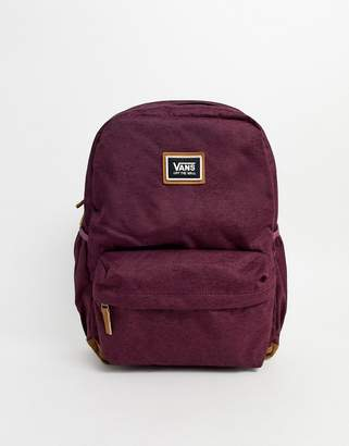 Vans Realm Plus large backpack in burgundy-Red