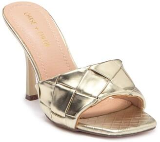 Chase & Chloe Quilted Slip-On Slim Heel Sandal