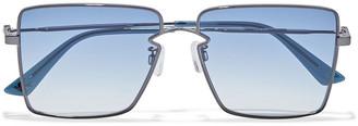 McQ Square-frame Gunmetal-tone Sunglasses
