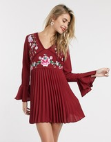 Asos Design DESIGN embroidered pleated mini dress with lace inserts