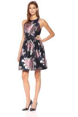 Tahari by Arthur S. Levine Women's Sleeveless Floral Party Dress with Rouched Waist Seam