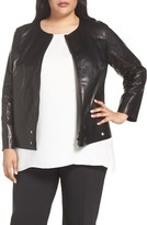 Lafayette 148 New York Plus Size Women's Santino Grommet Hem Leather Jacket