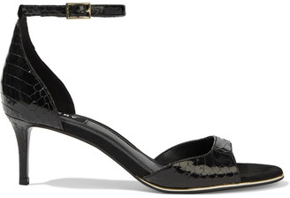 DKNY Giselle Glossed Snake-effect Leather Sandals