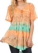 Sakkas 16786 - Monet Long Tall Tie Dye Ombre Embroidered Cap Sleeve Blouse Shirt Top - OS
