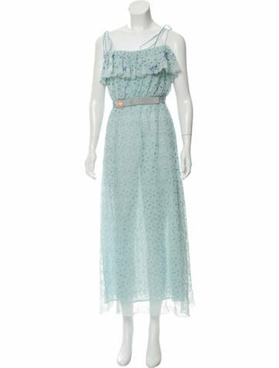 Luisa Beccaria 2018 Dragonfly Eyelet Midi Dress blue