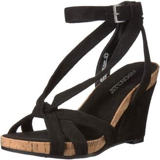 Aerosoles Women's Fashion Plush Wedge Sandal - Open Toe Strap Platform Heel Shoe with Memory Foam Footbed (5M - Orange Fabric)