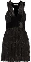 A.L.C. Wyatt Velvet-Paneled Pleated Embroidered Tulle Mini Dress