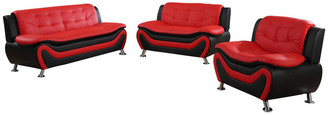 Us Furnishings Emory 3-Piece Sofa and Love Seat Set, Red and Black