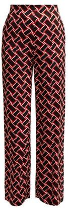Diane von Furstenberg Erica Geometric-print Wide-leg Trousers - Black Red