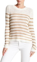 Cotton Emporium Striped Open-Knit Pullover Sweater