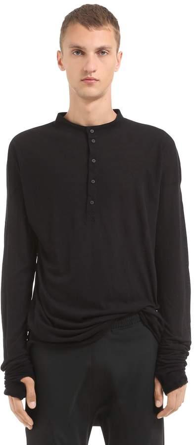 Isabel Benenato Cotton & Wool Jersey Henley T-Shirt