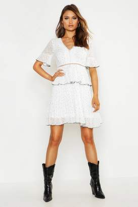 boohoo V Neck Lace Trim Pleated Polka Dot Skater Dress