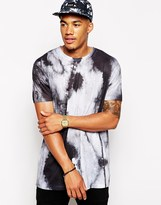 Asos Longline T-Shirt With Textured All Over Print