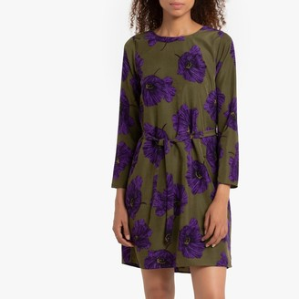 Compania Fantastica Short Flared Floral Dress with Tie-Waist and Long Sleeves