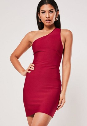 Missguided Premium Red Bandage One Shoulder Mini Dress
