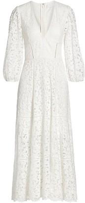 Jonathan Simkhai Puff-Sleeve Lace Midi Dress