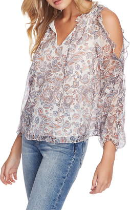 1 STATE 1.STATE Lyrical Paisley Ruffled Cold Shoulder Blouse