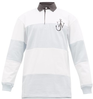 J.W.Anderson Logo-embroidered Cotton Rugby Shirt - Mens - Blue White