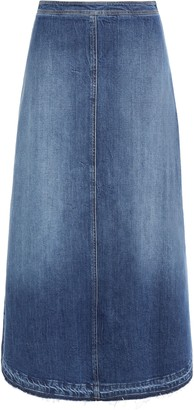 Philosophy di Lorenzo Serafini Frayed Faded Denim Midi Skirt
