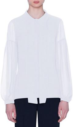 Akris Stretch Cotton Lantern-Sleeve Tie-Neck Blouse