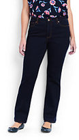 Lands' End Women's Plus Size Mid Rise Straight Leg Jeans-Dark Indigo Wash