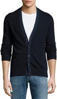 Neiman Marcus Cashmere Button-Front Cardigan, Navy