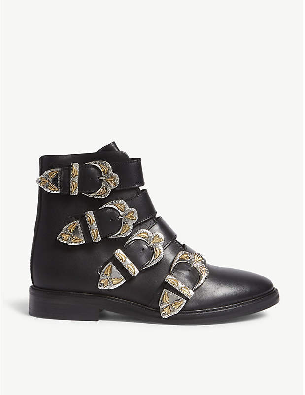 Maje Flat leather ankle boots