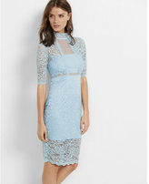 Express lace mock neck bandeau dress