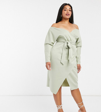 ASOS DESIGN Curve bardot wrap batwing sleeve midi dress with self tie belt in sage