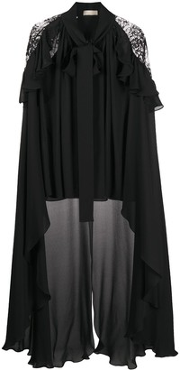 Elie Saab High-Low Cape-Style Blouse