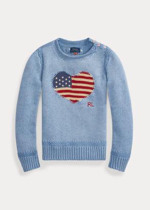 Ralph Lauren Flag-Heart Cotton Sweater