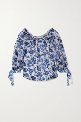 ALICE + OLIVIA - Alta Off-the-shoulder Floral-print Chiffon Blouse - Blue
