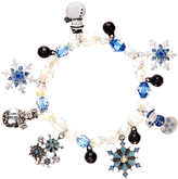 Carole Silvertone & Blue Jingle Bells Stretch Charm Bracelet