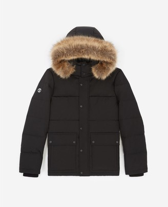 The Kooples Black nylon down jacket with hood & fur trim
