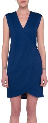 French Connection Lula Ponte Sleeveless Wrap Mini Dress, Blue