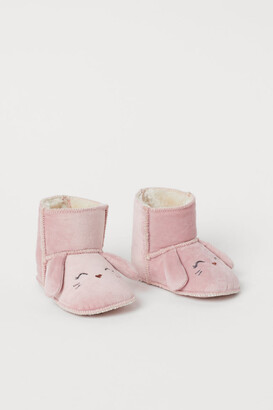 H&M Faux Shearling-lined Slippers - Pink