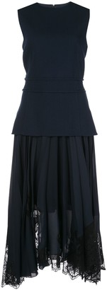 Oscar de la Renta Layered Pleated Dress