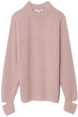 Tibi Boucle Alpaca Sweater with Slit Cuff in Light Mauve