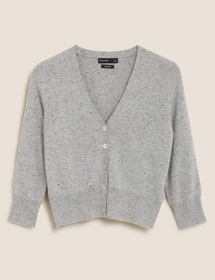 Marks and Spencer Pure Cashmere V-Neck Cropped Cardigan
