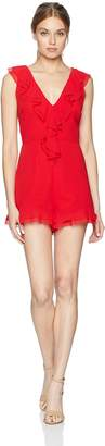 C/Meo Collective Women's Elude Ruffle Detail Romper Sleeveless Playsuit