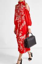 Fendi Floral Print Cold Shoulder Dress with Fil Coupé Silk