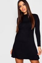 boohoo High Neck Long Sleeved Swing Dress