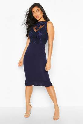 boohoo Lace Insert Midi Dress