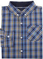 Andy & Evan Long-Sleeve Plaid Poplin Shirt, Navy, Size 2-7