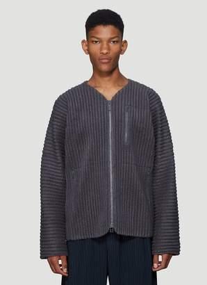 Issey Miyake Homme Plissé Pleated Fleece Jacket in Grey