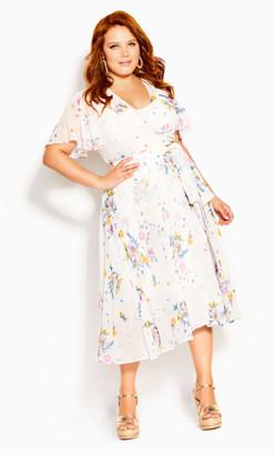 City Chic Summer Rose Dress - ivory