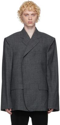 Balenciaga Grey Blurry Prince Of Wales Phone Holder Blazer