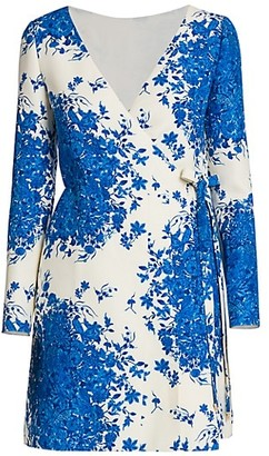 Valentino Wool & Silk Floral Wrap Dress