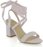 Essex Glam womens lace up block mid heel strappy sandal shoes